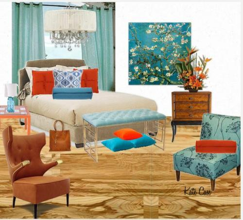 blue and orange room design by Kate Case, owner of Kate's Home Staging and Redesign