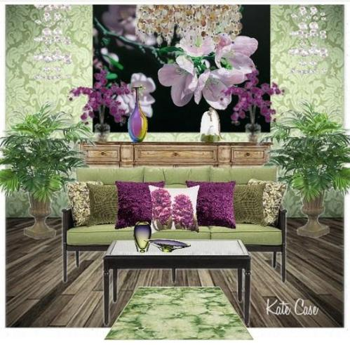 violet and green room design by Kate Case, owner of Kate's Home Staging and Redesign