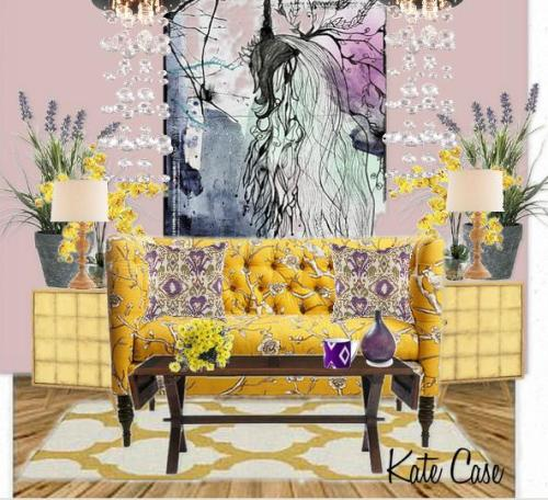 yellow and violet room design by Kate Case, Orange County top home decorator